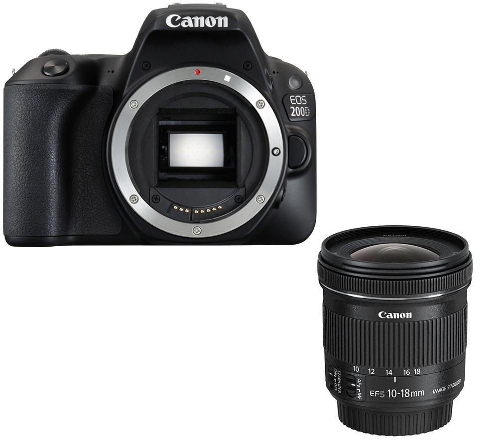 CANON EOS 200D DSLR Camera & EF-S 10-18 mm f/4 5-5 6 IS STM Wide-angle Zoom  Lens Bundle