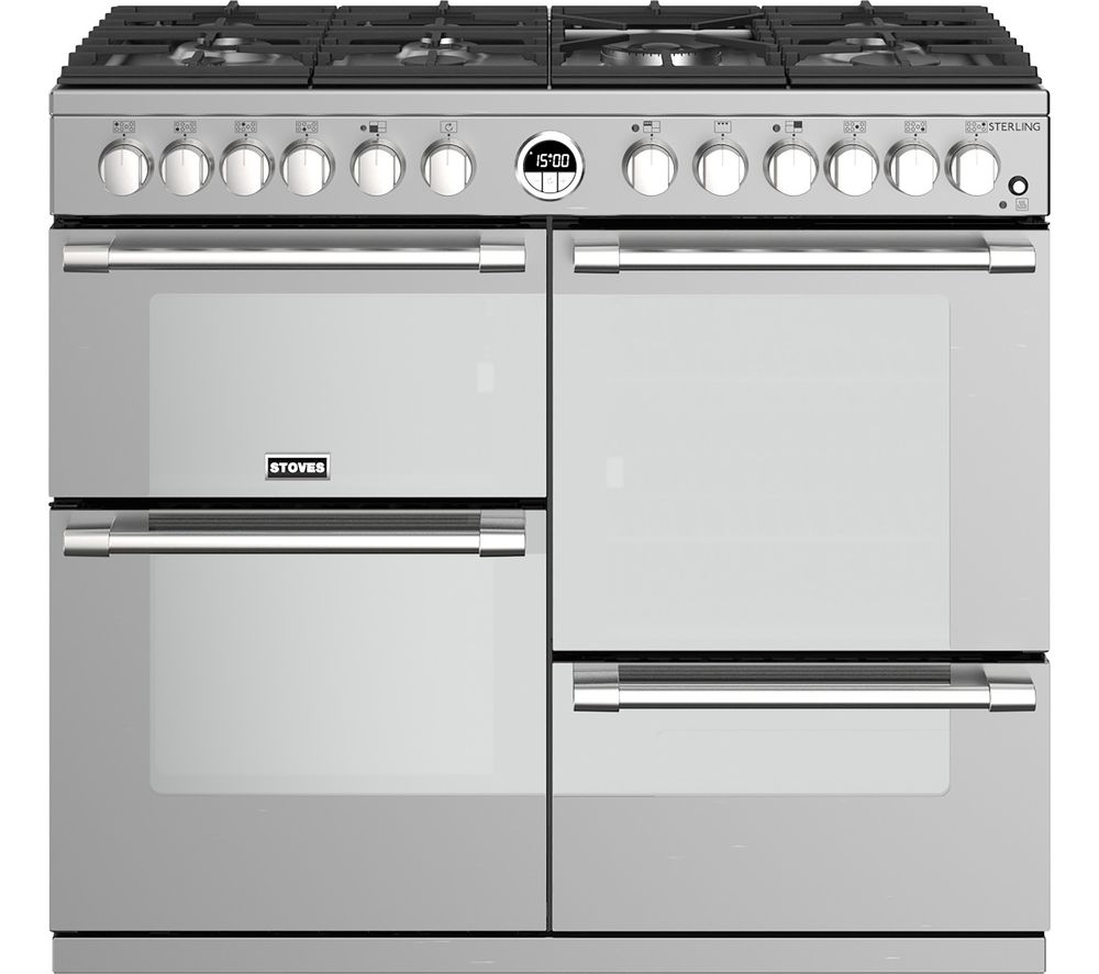 STOVES Sterling S1000DF SS 100 cm Dual Fuel Range Cooker - Stainless Steel