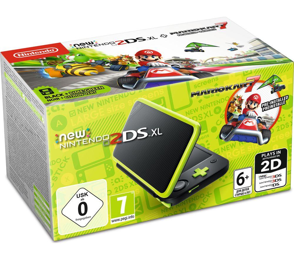 NINTENDO 2DS XL & Mario Kart 7 - Black & Green, Black