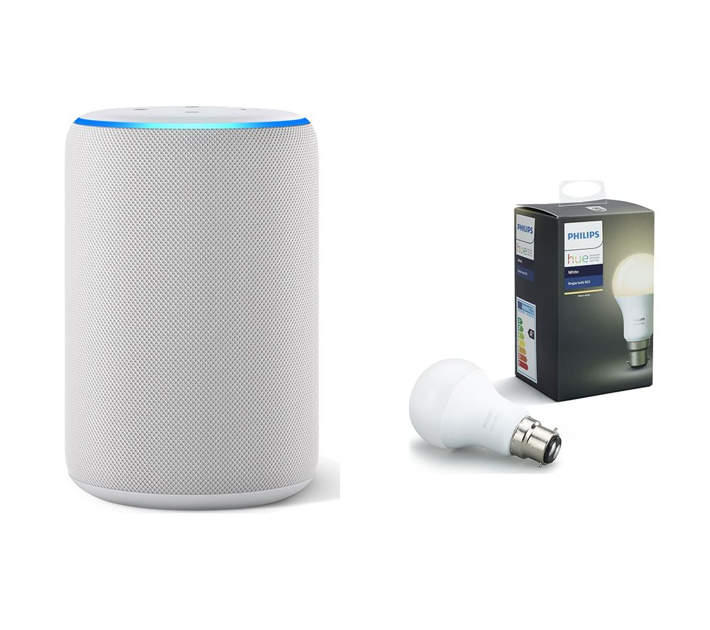 AMAZON Echo Plus (2018) & B22 Hue White Wireless Bulb Bundle - White, White