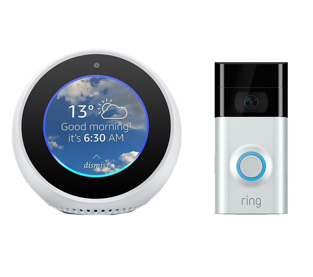 RING Video Doorbell 2 & Echo Spot Bundle - White
