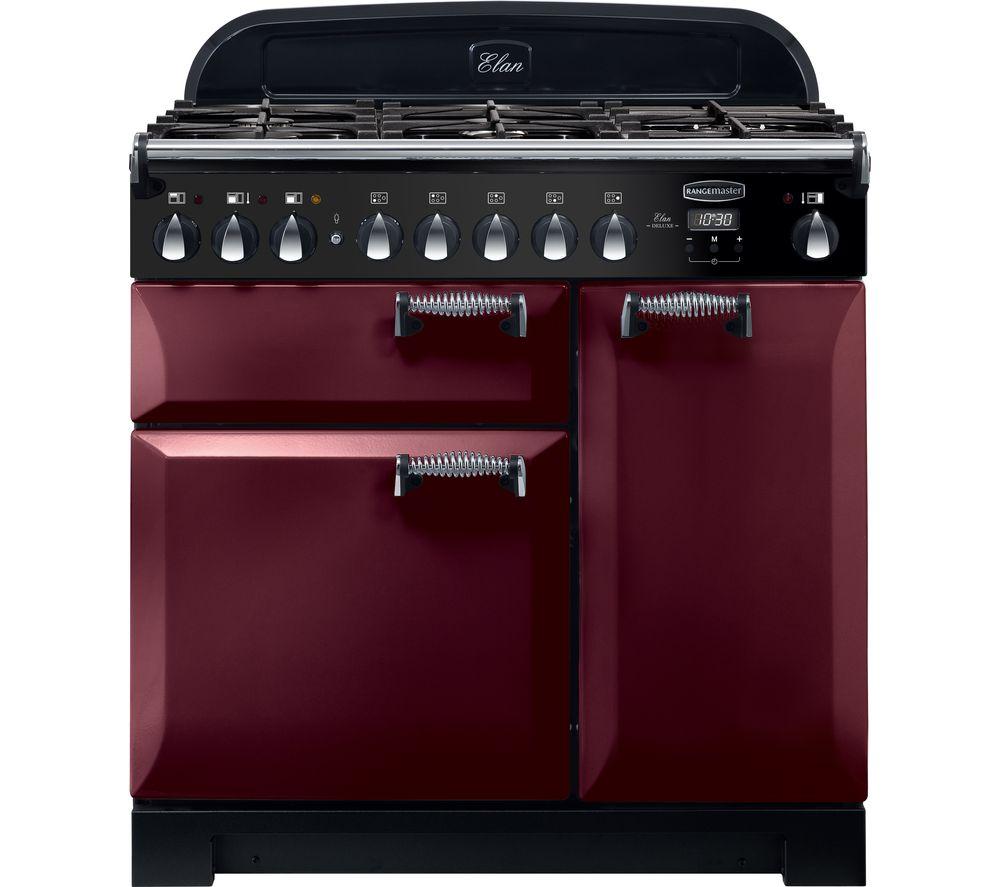 RANGEMASTER Elan Deluxe ELA90DFFCY 90 cm Dual Fuel Range Cooker - Cranberry & Chrome