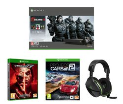 MICROSOFT Xbox One X with Gears 5, Tekken 7, Project Cars 2 & Stealth 600 Headset Bundle