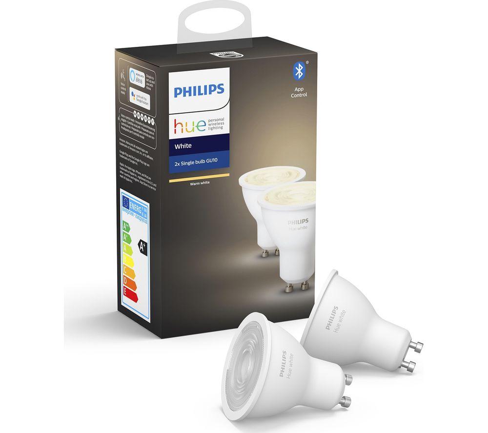 PHILIPS HUE White Bluetooth LED Bulb - GU10, Twin Pack