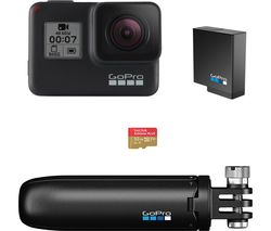 GOPRO HERO7 Black Action Camera with Shorty Mount, Extra Battery & microSD Card Bundle