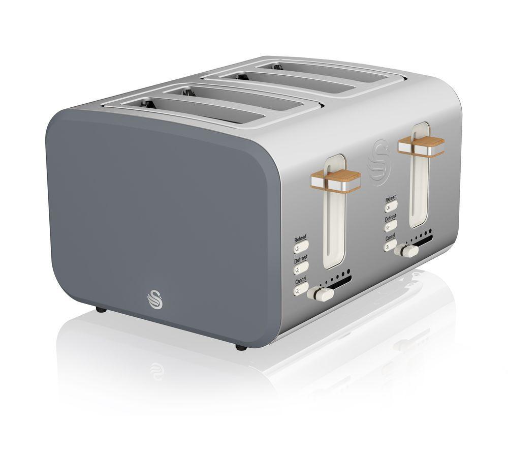 Nordic ST14620GRYN 4-Slice Toaster - Grey, Grey
