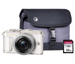 PEN E-PL9 Mirrorless Camera with M.ZUIKO DIGITAL ED 14-42 mm f/3.5-5.6 EZ Lens, Case & Memory Card Kit - White