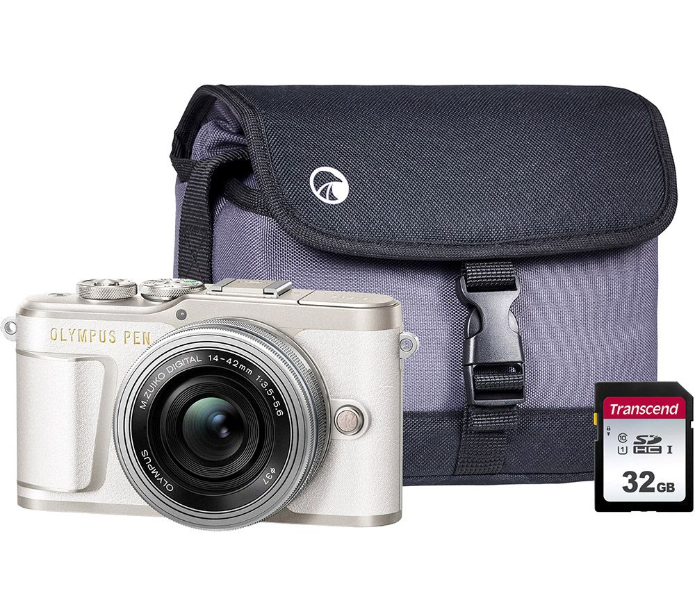 Image of OLYMPUS PEN E-PL9 Mirrorless Camera with M.ZUIKO DIGITAL ED 14-42 mm f/3.5-5.6 EZ Lens, Case & Memory Card Kit - White, White