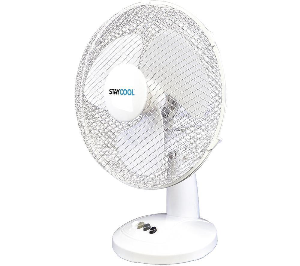 """LLOYTRON StayCool F1021WH 16"""" Desk Fan - White"""