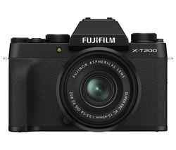 X-T200 Mirrorless Camera with FUJINON XC 15-45 mm f/3.5-5.6 OIS PZ Lens - Black