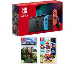 Switch, Super Mario 3D All-Stars & Minecraft Bundle - Neon Red & Blue