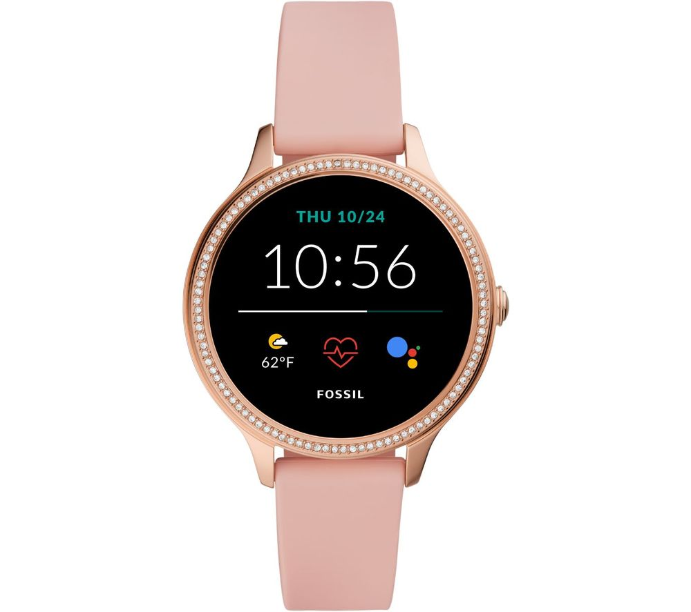 FOSSIL Gen 5E FTW6066 Smartwatch - Blush Pink & Rose Gold, Silicone Strap