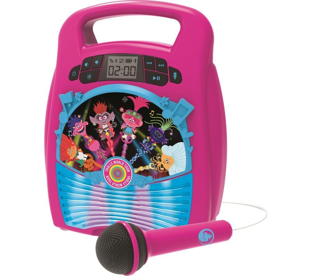 EKIDS DreamWorks Trolls World Tour TR-553 Bluetooth Karaoke System - Pink & Blue, Pink