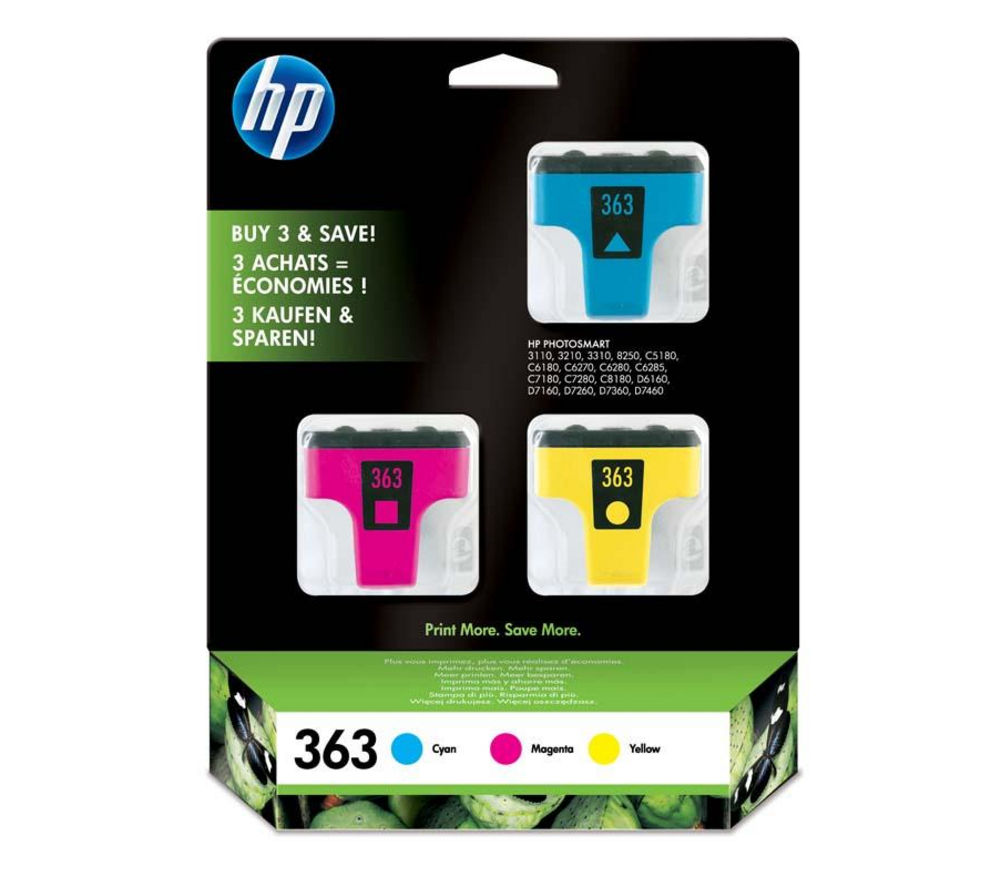 hp 363 cyan magenta yellow ink cartridges multipack. Black Bedroom Furniture Sets. Home Design Ideas