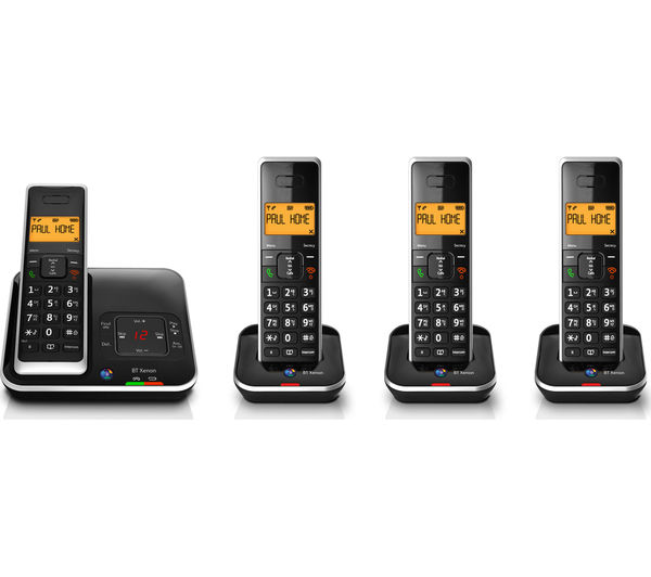 An Image Of Bt Xenon 1500 Cordless Phone With Answering Machine Quad Handsets