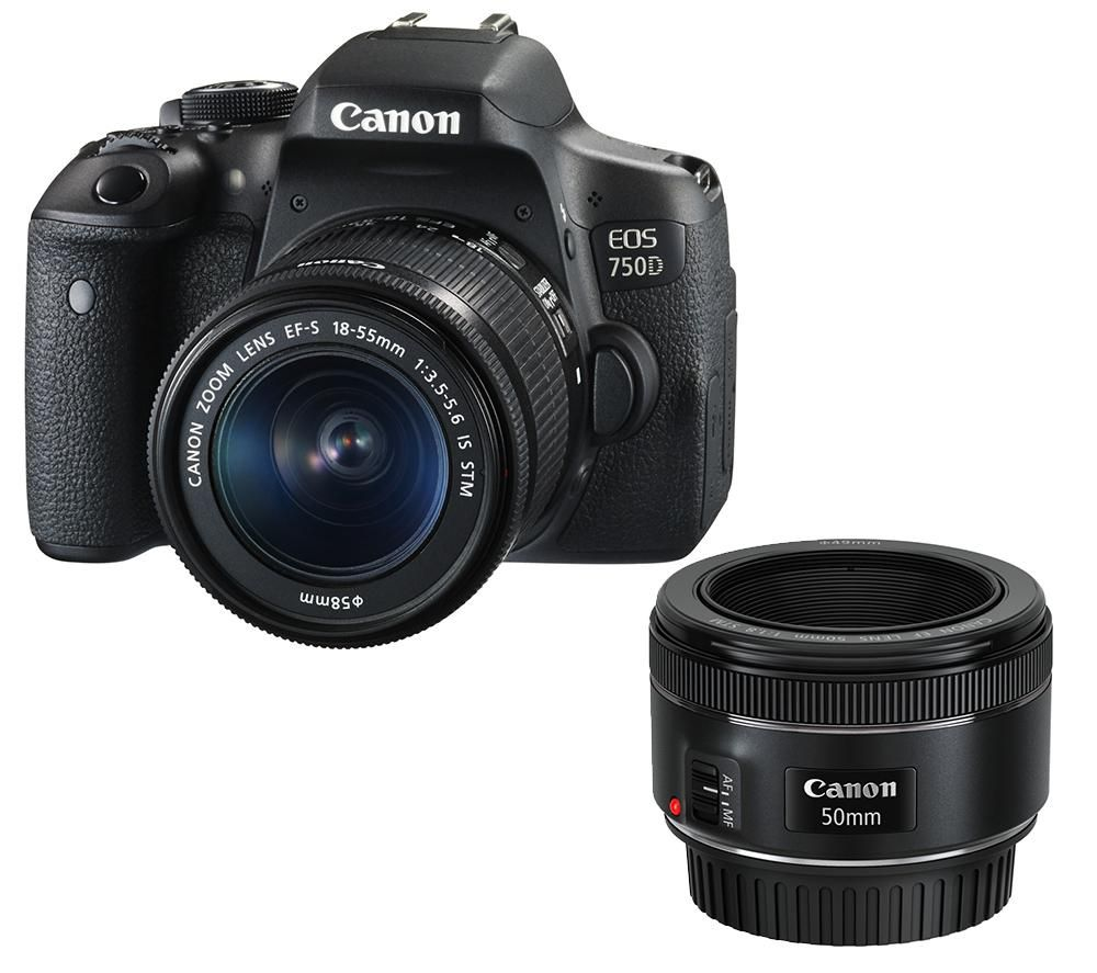 CANON EOS 750D DSLR Camera with 18-55 mm f/3.5-5.6 & 50 mm f/1.8 Lenses - Black