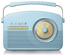 AKAI Portable DAB+/FM Retro Bluetooth Radio - Blue