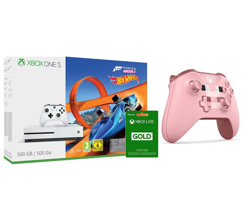Image of MICROSOFT Xbox One S with Forza 3, Hot Wheels Expansion, Pig Controller & LIVE Membership Bundle, Gold