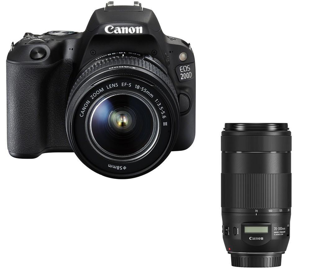 Image of CANON EOS 200D DSLR Camera, EF-S 18-55 mm f/3.5-5.6 III Lens & EF 70-300 mm F/4-5.6 IS II USM Telephoto Zoom Lens Bundle