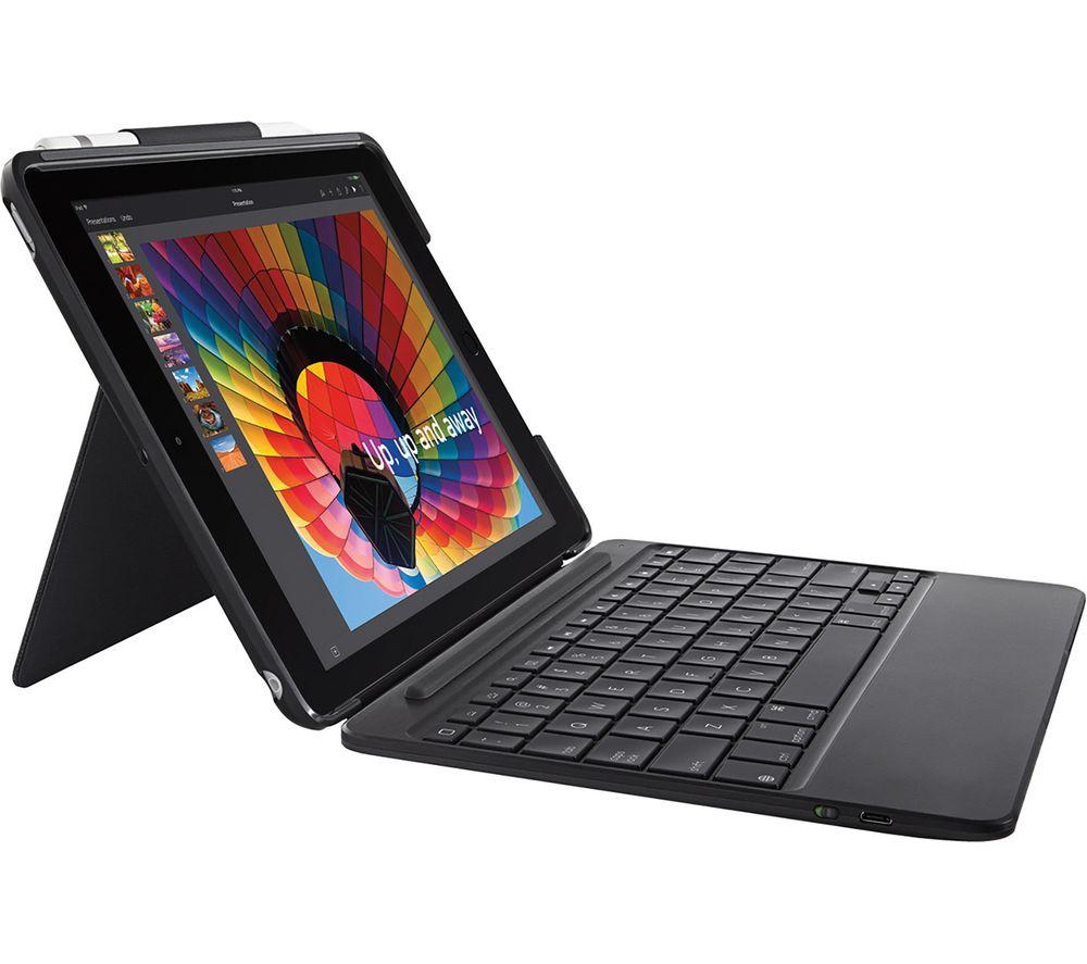 "Buy LOGITECH Slim Combo 9.7"" iPad Case & Keyboard - Black  Free Delivery  Currys"