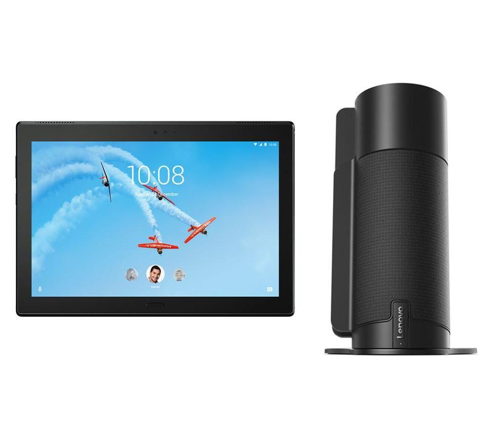 "Image of LENOVO Tab 4 Plus 10"" Tablet & Tab 4 Smart Assistant Voice Controlled Speaker Bundle - Black, Black"