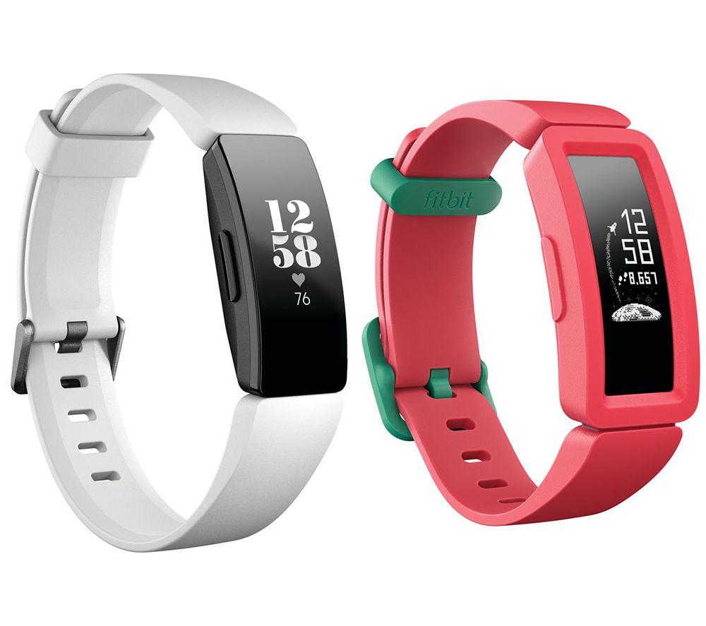 FITBIT Inspire HR Fitness Tracker & Ace 2 Kids Fitness Tracker Bundle - White & Watermelon, White