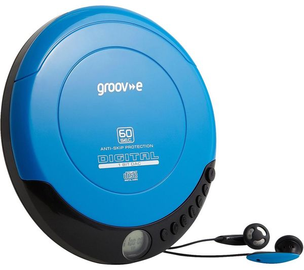 GROOV-E Retro GV-PS110-BE Personal CD Player - Blue, Blue