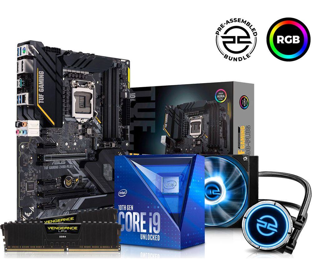 PC SPECIALIST Intel® Core™ i9 Processor, TUF Gaming Motherboard, 16 GB RAM & FrostFlow Liquid Cooler Components Bundle