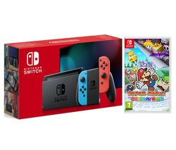 Switch & Paper Mario Bundle - Neon Red & Blue