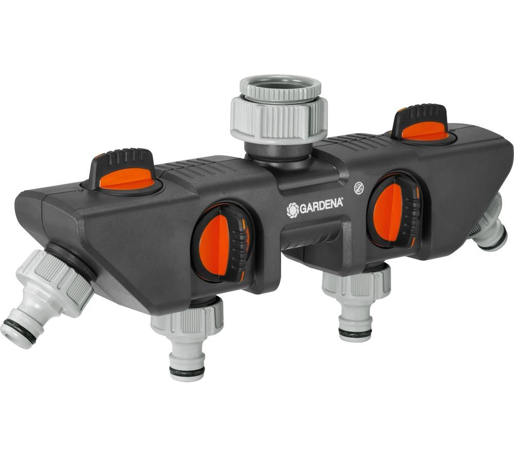 GARDENA 8194-20 Four Channel Water Distributor - Grey & Orange, Grey