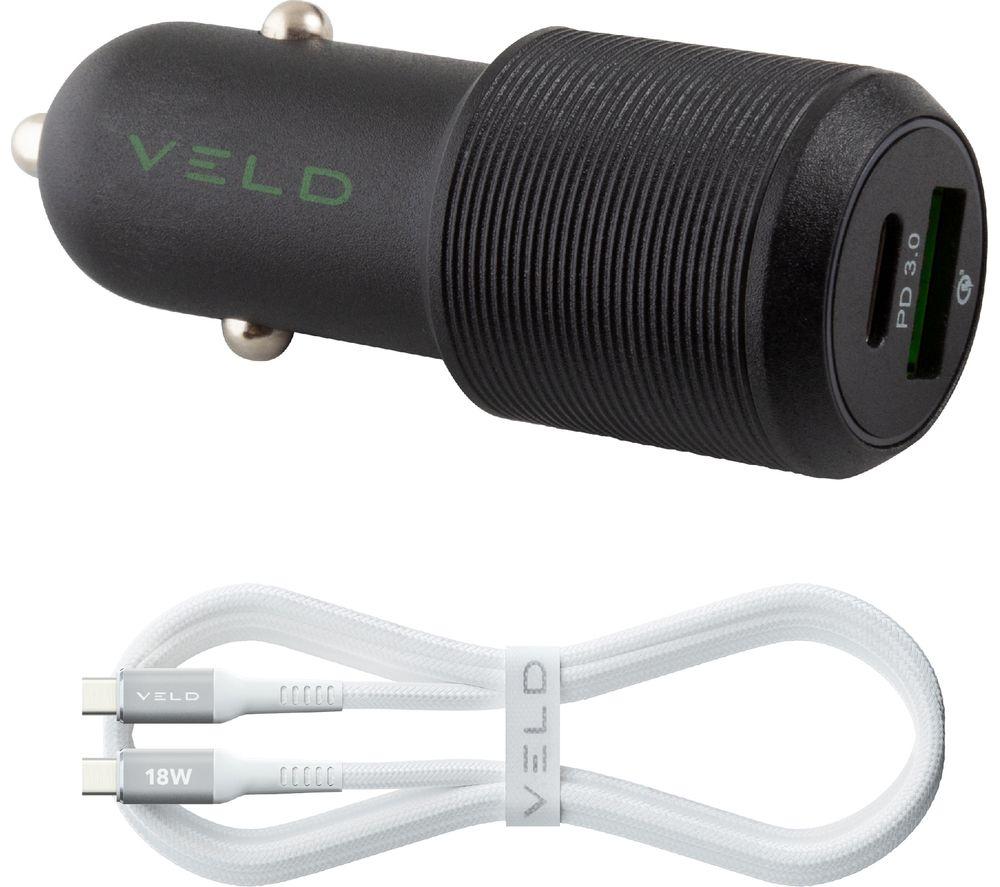 VELD Super-fast Universal Dual USB Car Charger - 1 m