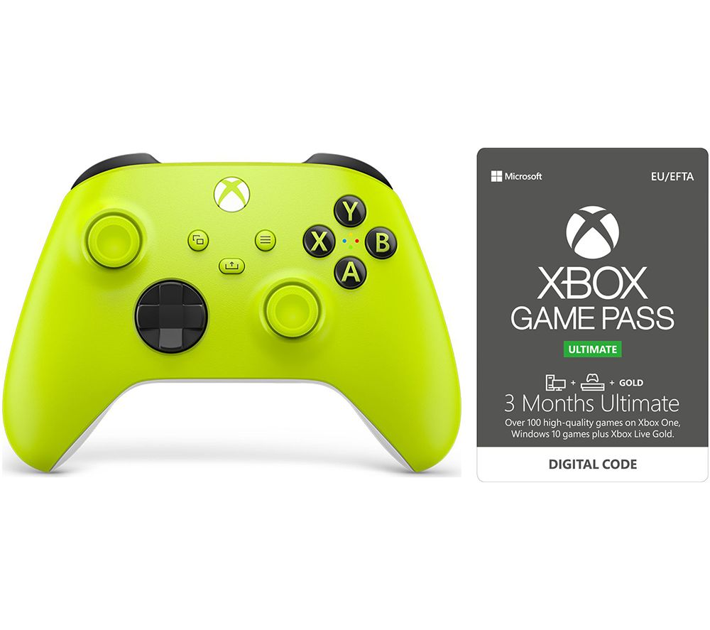 XBOX Wireless Controller & 3 Month Game Pass Ultimate Bundle - Electric Volt