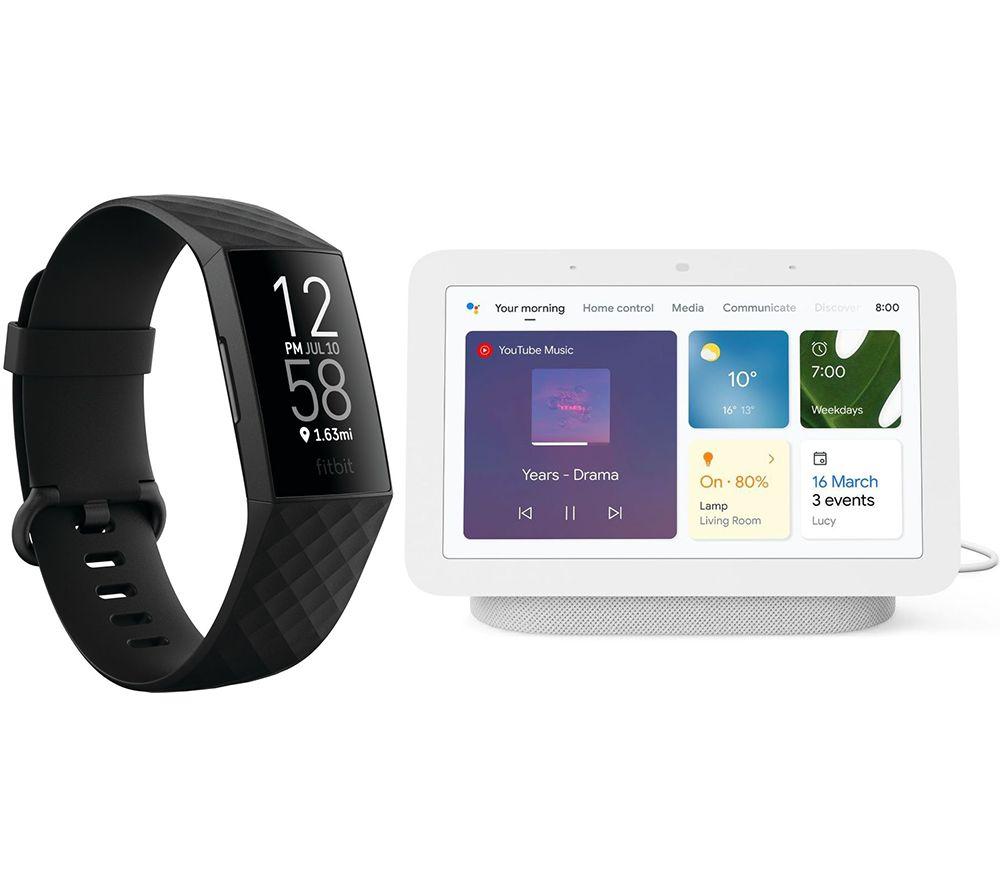 FITBIT Charge 4 Fitness Tracker & Nest Hub (2nd Gen) Smart Display Bundle - Black & Chalk