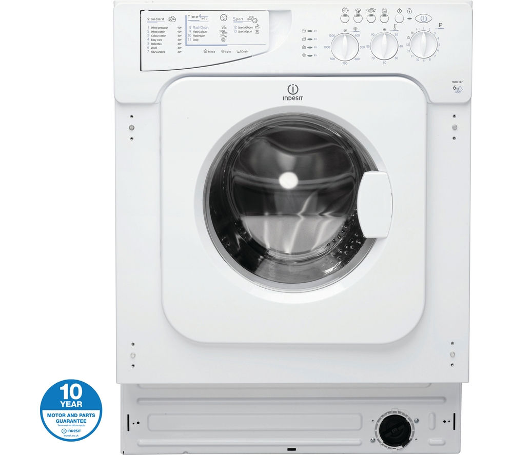 INDESIT Ecotime IWME127 Integrated Washing Machine - White