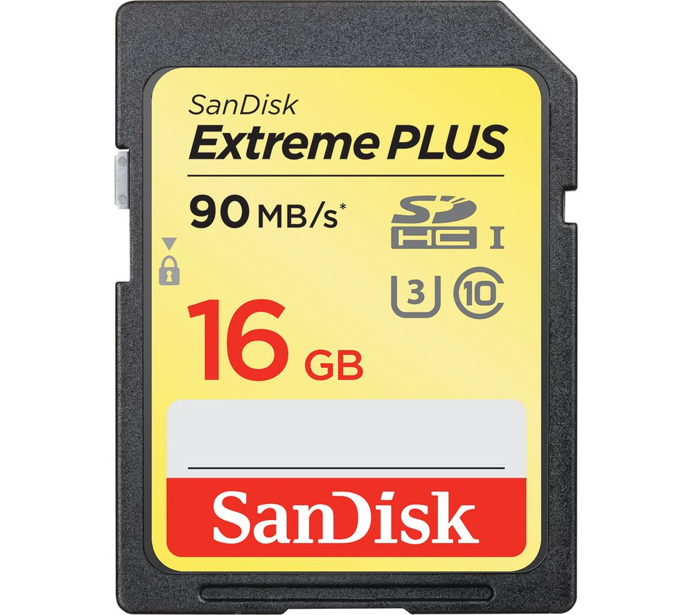 SANDISK Extreme Plus Class 10 SD Memory Card - 16 GB