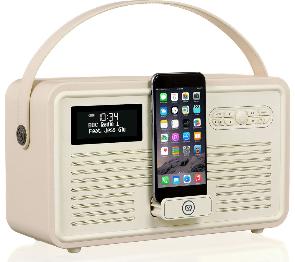 buy vq retro mk ii portable dab fm bluetooth clock radio cream free delivery currys. Black Bedroom Furniture Sets. Home Design Ideas