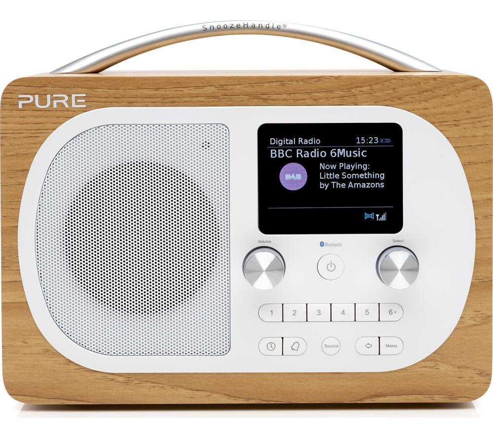 PURE Evoke H4 Portable DAB/FM Bluetooth Clock Radio - Oak