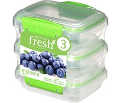 SISTEMA Fresh Rectangular 0.2 litre Containers - Green, Pack of 3