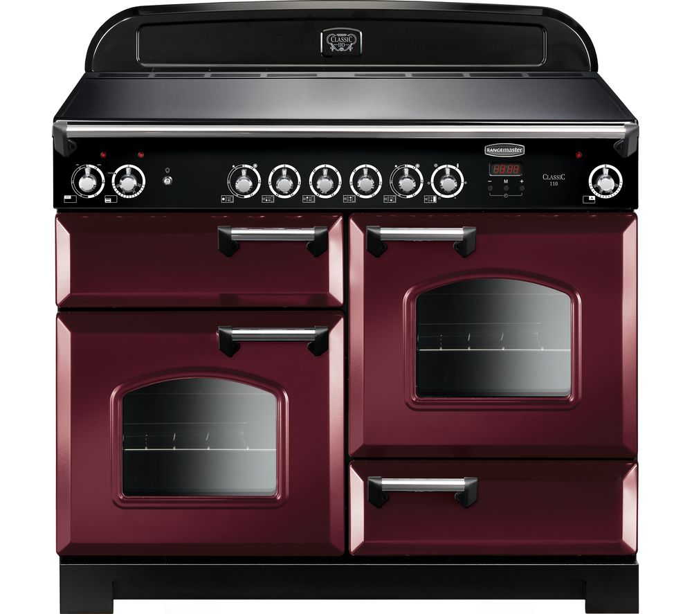 RANGEMASTER Classic CLA110ECCY/C Electric Ceramic Range Cooker - Cranberry & Chrome