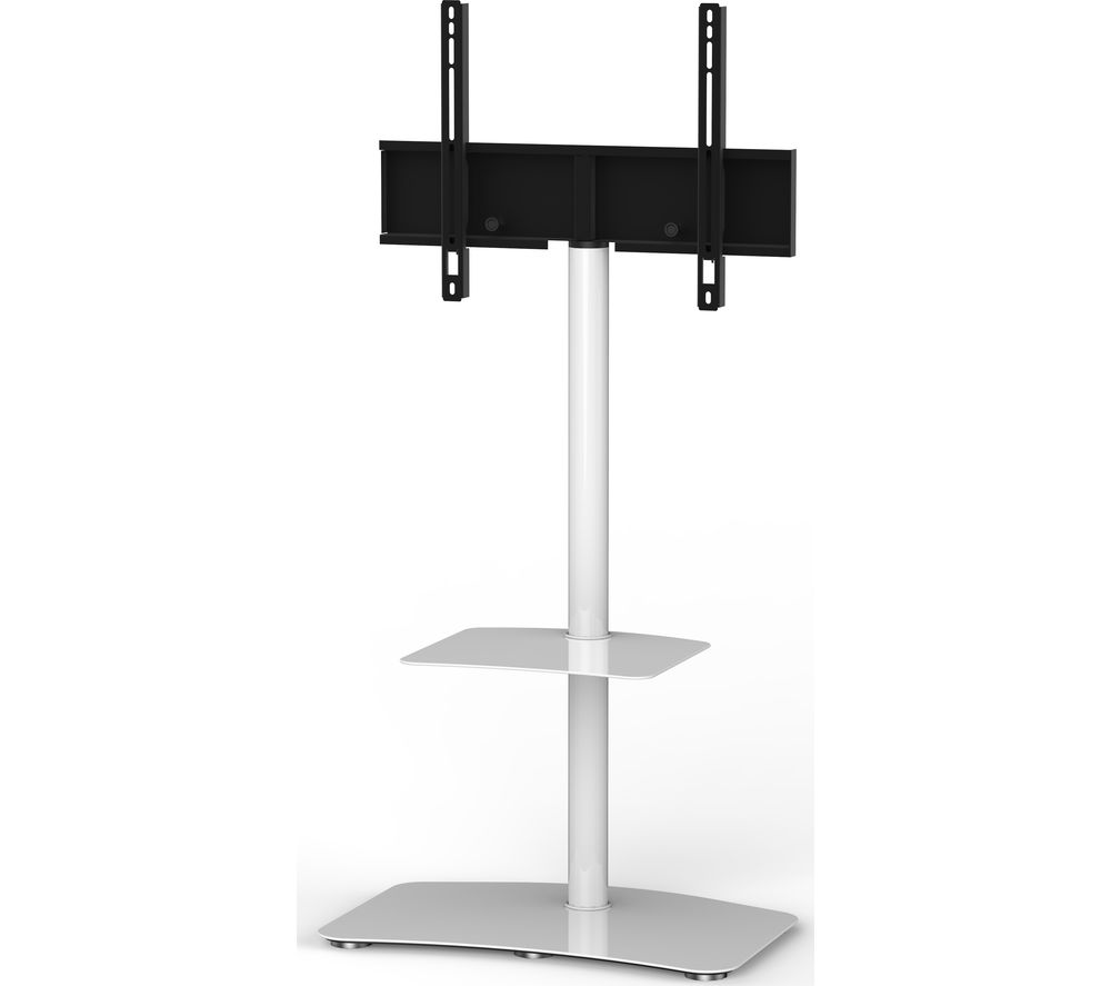 SONOROUS Tall Contemporary PL2810-WHT 650 mm TV Stand with Bracket - White, White