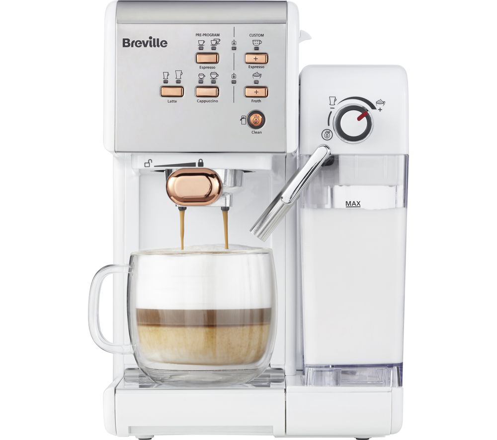 Image of BREVILLE One-Touch VCF108 Coffee Machine - White & Rose Gold, White