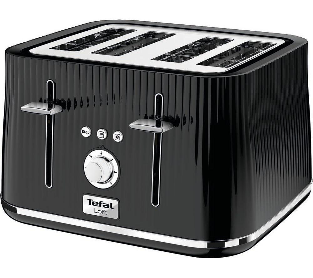 TEFAL Loft TT60840 4-Slice Toaster - Piano Black, Black