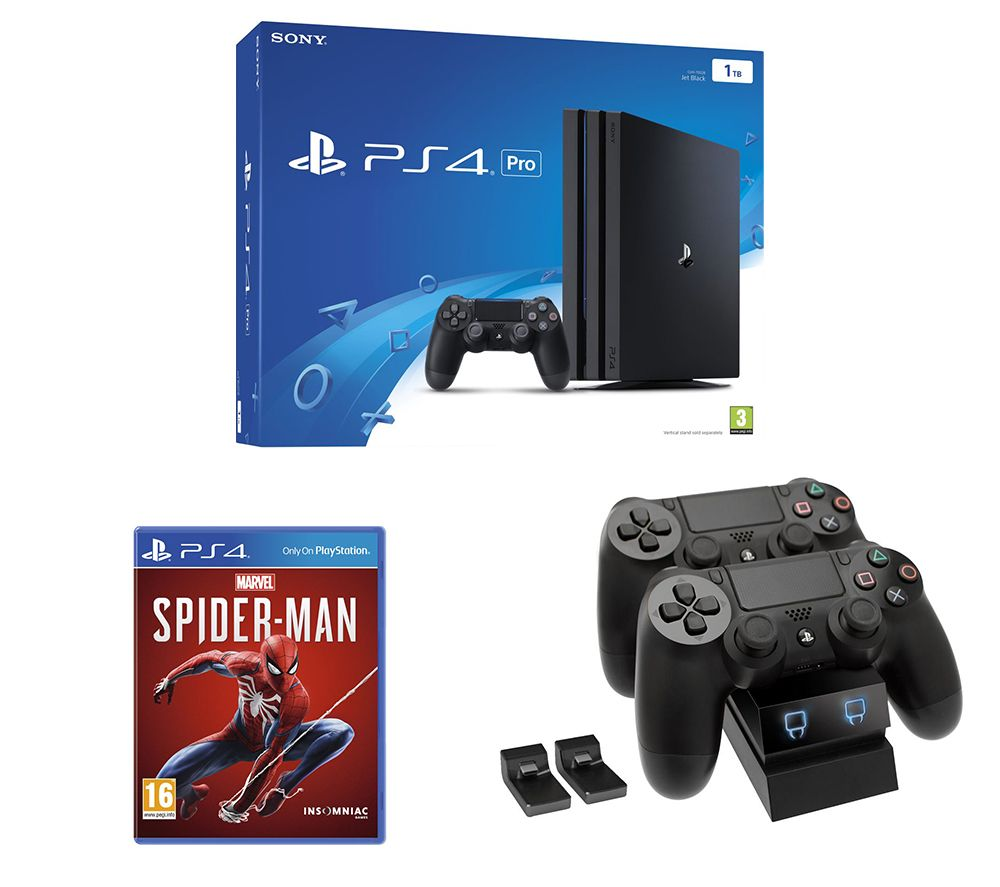 SONY PlayStation 4 Pro, Marvels Spider-Man & Twin Docking Station Bundle, Red