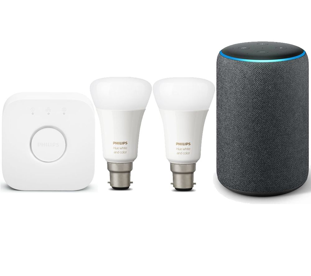 AMAZON Echo Plus (2018) & Hue White and Colour Ambience Mini B22 Smart Bulb Starter Kit Bundle - Charcoal
