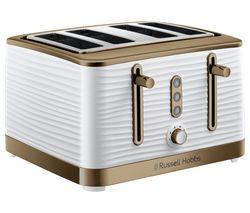 R HOBBS Inspire Luxe 24386 4-Slice Toaster - White & Brass