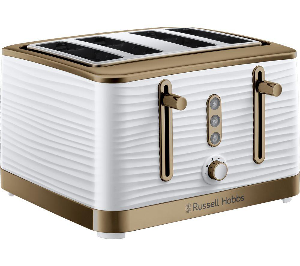 R HOBBS Inspire Luxe 24386 4-Slice Toaster - White & Brass, White