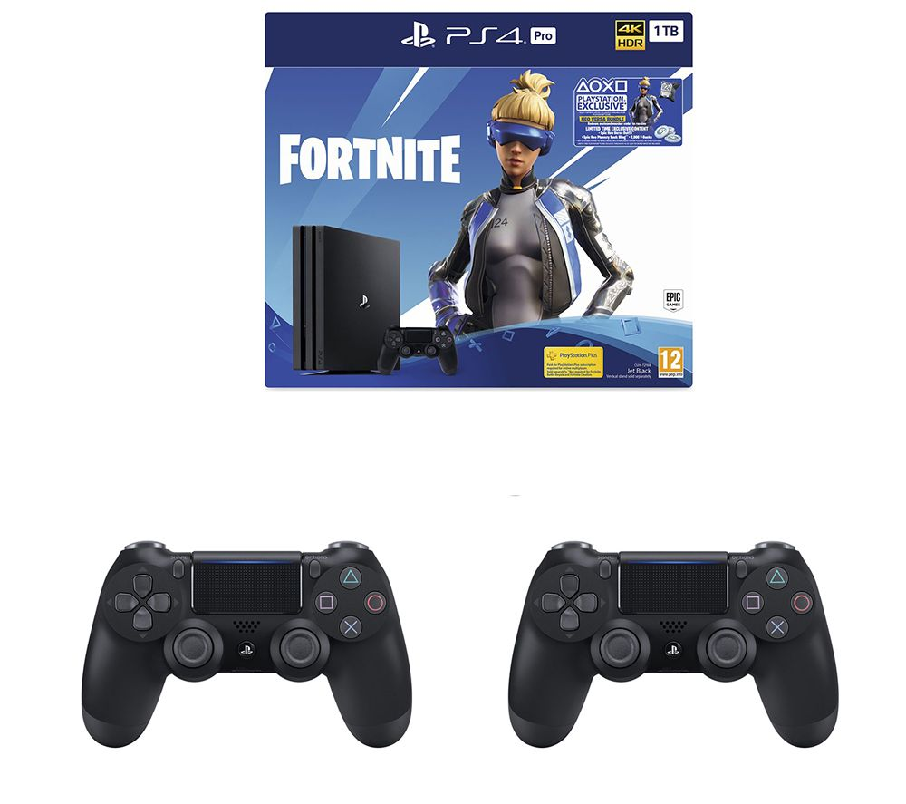 SONY PlayStation 4 Pro, Fortnite Neo Versa & 2 Wireless Controllers Bundle  - 1 TB
