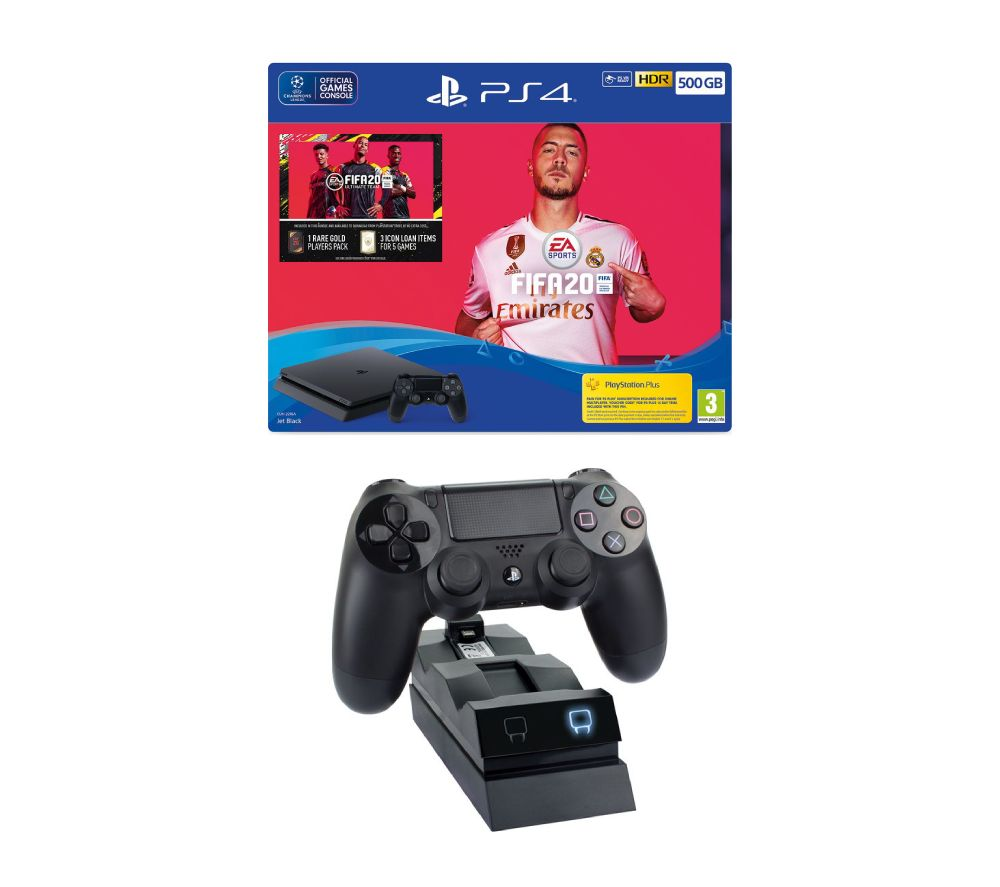 SONY Playstation 4 with FIFA 20 & Twin Docking Station Bundle - 500 GB