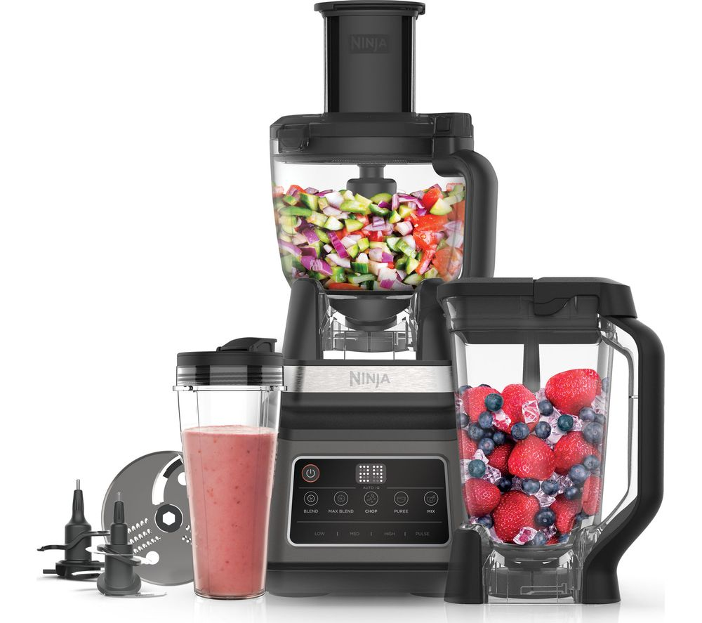 Image of BN800UK 3-in-1 Food Processor with Auto-iQ | Black/Sliver