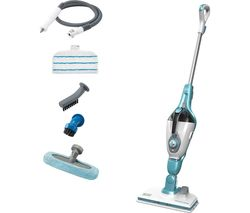 Image of BLACK + DECKER FSMH1321 7 in 1 Steam Mop - White & Aqua